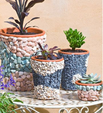 pebble mosiac containers