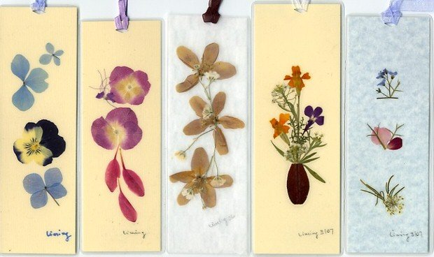 pressed flowers bookmark