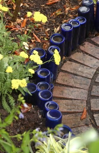 garden edging from recycled bottles