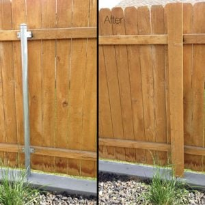 How To Cover Ugly Metal Fence Posts With Wood! before & after