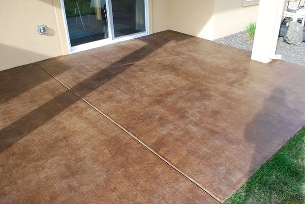 Diy project how to stain a concrete patio the garden glove for How to clean concrete floors before staining