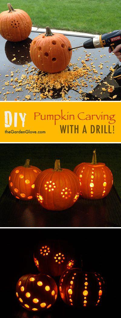Diy Pumpkin Carving With A Drill The Garden Glove