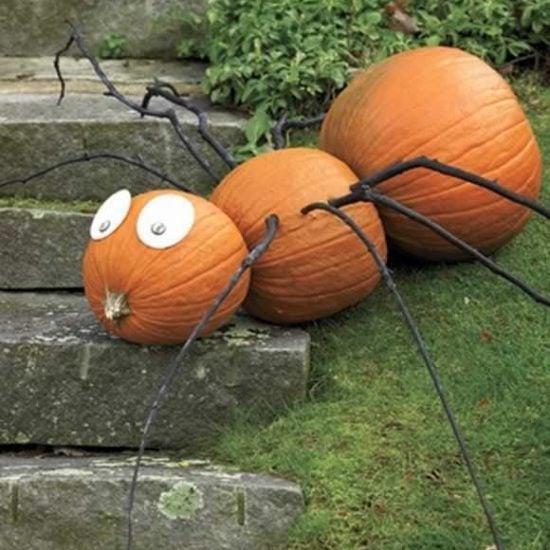 DIY Outdoor Halloween Yard Decorations-Pumpkin SPider