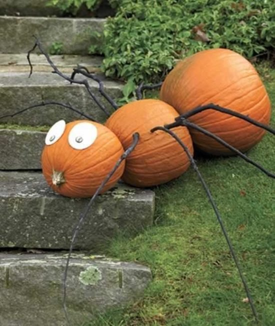 DIY Outdoor Halloween Yard Decorations-Pumpkin SPider