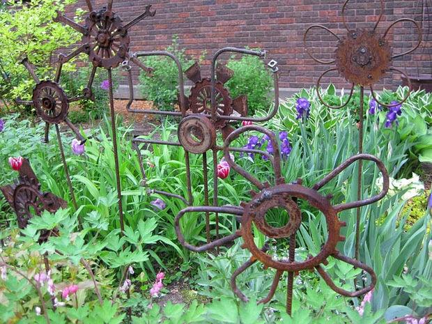 Metal junk garden art