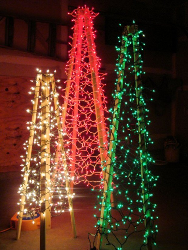 diy lighted christmas trees - Outdoor Christmas Decorations
