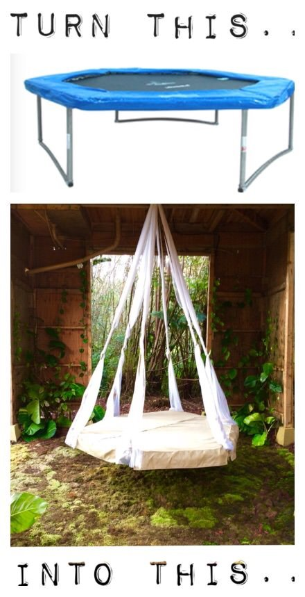 Quick tip recycled trampoline hanging bed the garden for Round hanging porch bed