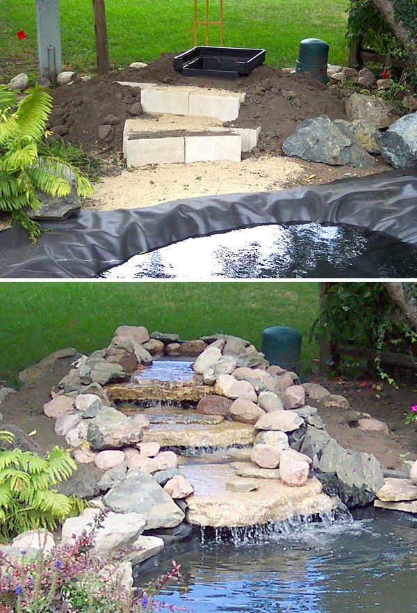 Diy garden waterfalls the garden glove for Fish pond waterfall ideas