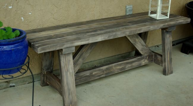Build it with Brooke' made this Ana White design 2X4 Outdoor Bench ...
