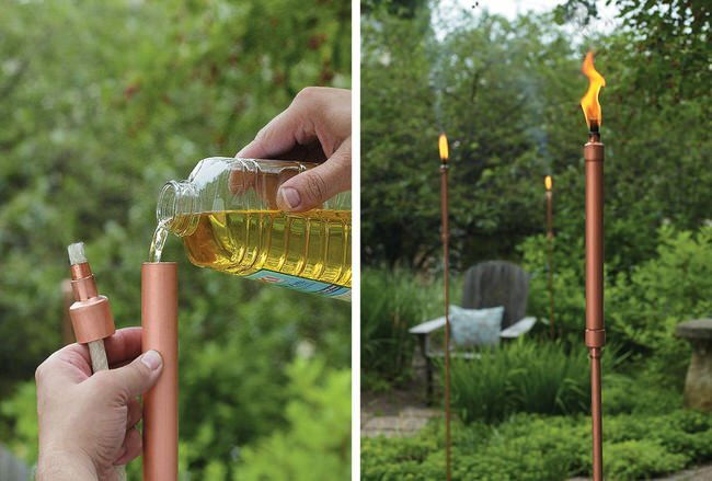 Backyard Tiki Torches :  Style?, this sleek, modern looking Copper Patio Torch is gorgeous