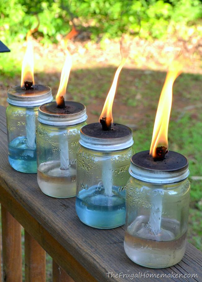 Backyard Bargain Tiki Torches : Recycled wine bottle torches are all over the internet, but this is