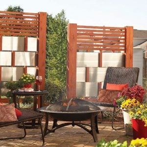 Patio Privacy Screen from wood and metal flashing
