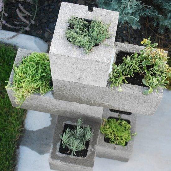 DIY Cinder Block Planter- Finished project above