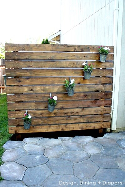 DIY Patio Privacy Wall with wood