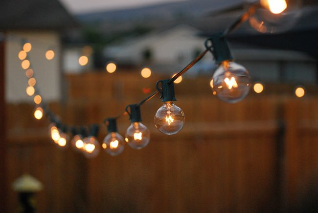 a traveling Wife: Backyard Decor - Globe String Lights
