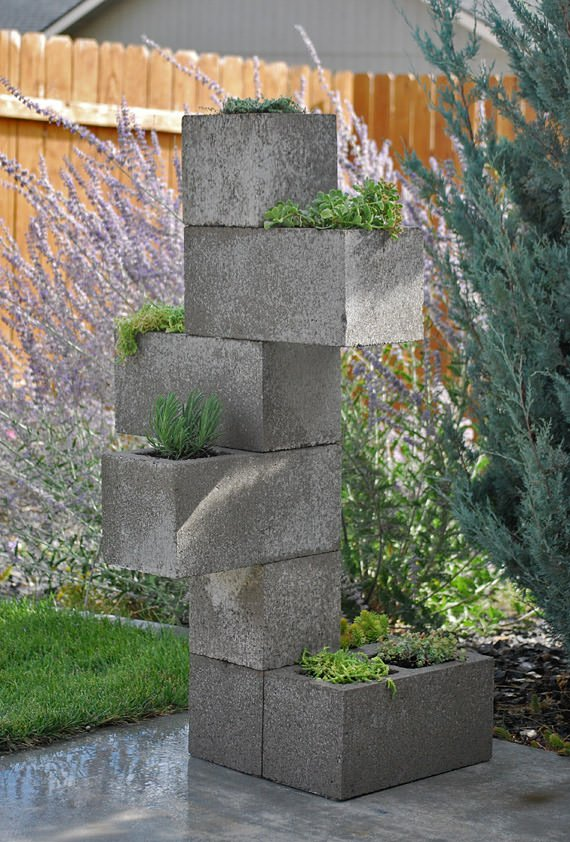 Vertical Cinder Block Planter 7