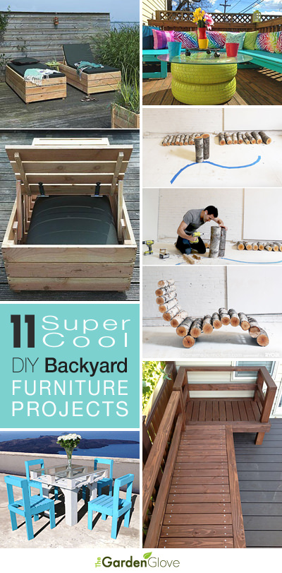 Backyard furniture can be just as important as the furniture in your living room these days... after all, we have finally embraced the outdoors as another room on it's own! Make sure your backyard space has furniture with a personality that tells a story about you and your family... Are you creative, adventurous, ingenious, or perhaps a little 'uptown girl'? We have a great selection of super cool backyard furniture projects that you can DIY for your garden! Our featured project is shown above.This tire coffee table from 'Madcap Frenzy' may or may not be your cup o' tea, but you have to admire the creativity! Love the bright colors!