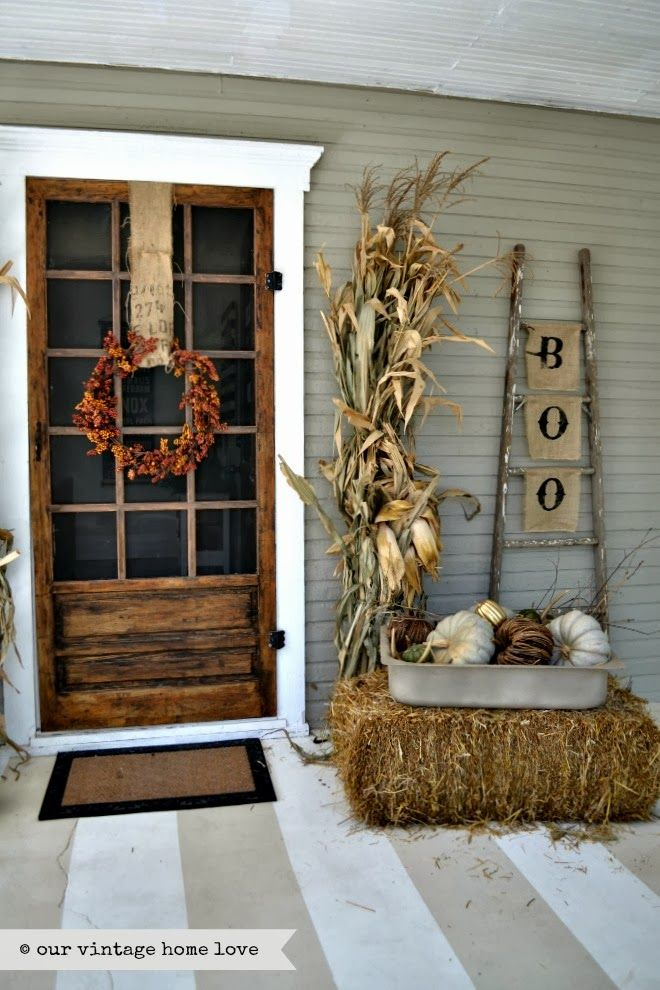 Fall front door decor ideas the garden glove Small front porch decorating ideas for fall
