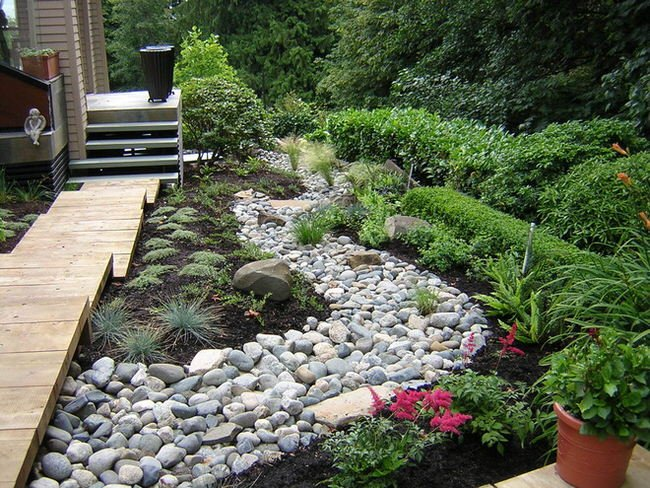 Diy dry creek beds the garden glove for Dry landscape design