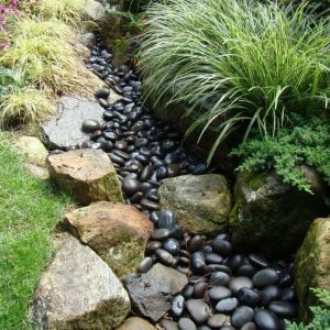 DIY Dry Creek Bed with Black Rock
