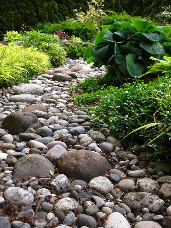 Diy dry creek beds the garden glove for River rock landscaping