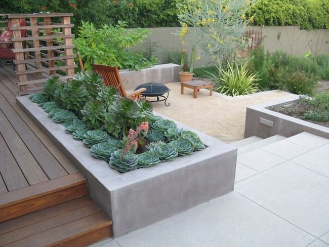 how the built in planter separates different areas good design