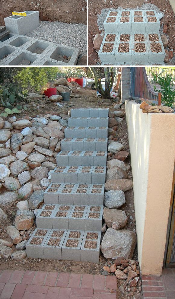 Cinder Blocks in the Garden as stairs