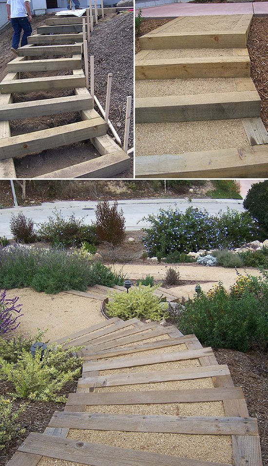 Step by step diy garden steps and stairs the garden glove for Exterior stairs