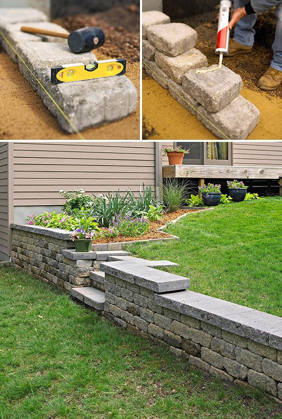 Diy garden retaining walls the garden glove for Canteros de jardin