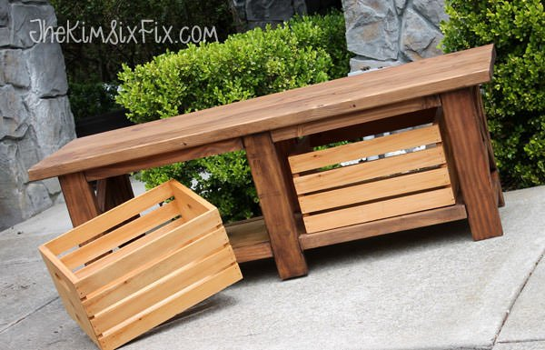 x-leg-bench-wooden-crates & DIY Outdoor Storage Benches | The Garden Glove