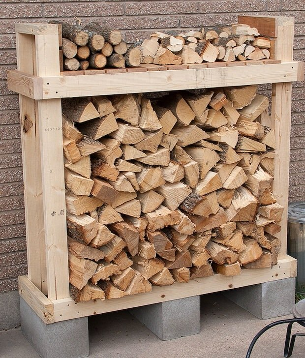 9 super easy diy outdoor firewood racks the garden glove. Black Bedroom Furniture Sets. Home Design Ideas