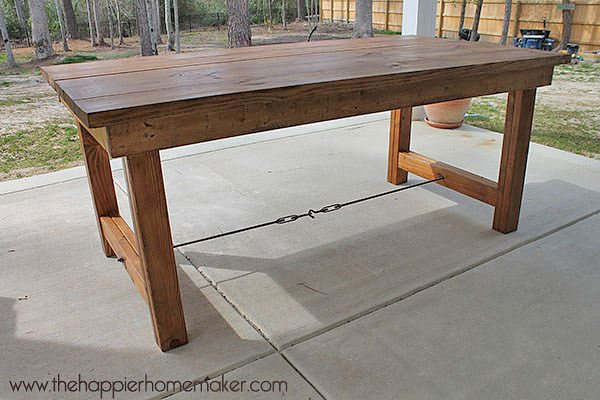 DIY Outdoor Dining Table Projects The Garden Glove - Outdoor wood rectangular dining table