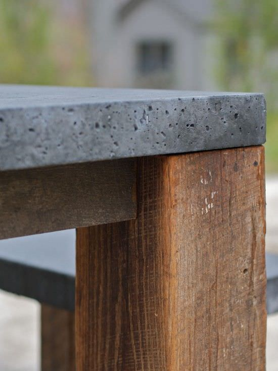 We LOVE this DIY concrete dining table we found on 'Houzz', but it ...