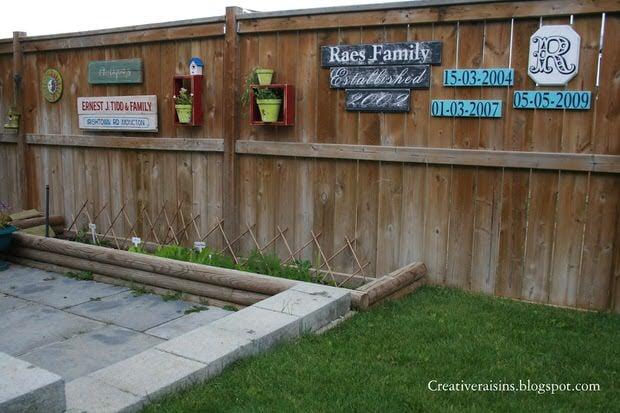 15 Creative Garden Fence Spruce-Ups | The Garden Glove on Backyard Fence Decor Ideas id=92505