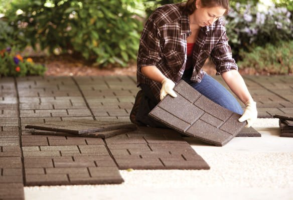 9 diy cool & creative patio flooring ideas | the garden glove - Ideas To Cover Concrete Patio