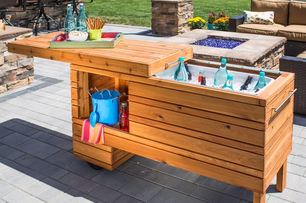 Diy outdoor kitchens and grilling stations the garden glove Picnic table with cooler plans