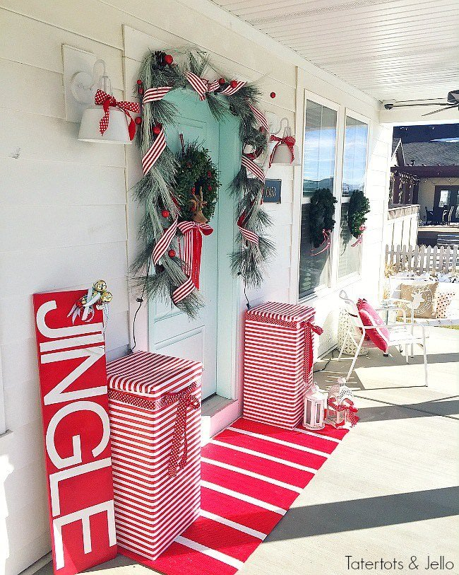Try this simple outdoor Christmas decorating idea. Wrap trees with alternating red & white Christmas lights so they look like a candy cane!