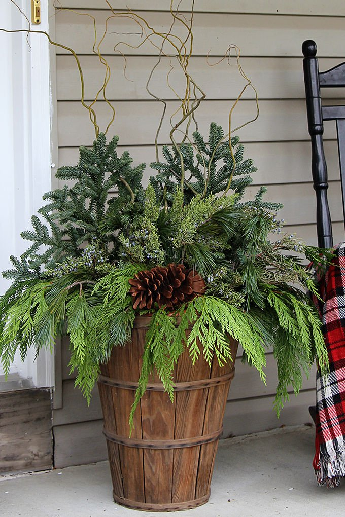 Heather At U0027Setting For Fouru0027 Added Birch Branches To Her Basic Winter  Garden Containers. She Flanked Her Front Door With These, Then Added Red  For Holiday ...