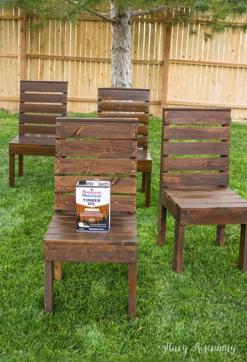 ... how it goes together. She is using this as patio furniture for her fire  pit area, but we could see them make nice outdoor dining table chairs as  well! - Easy DIY Outdoor Garden & Patio Furniture The Garden Glove