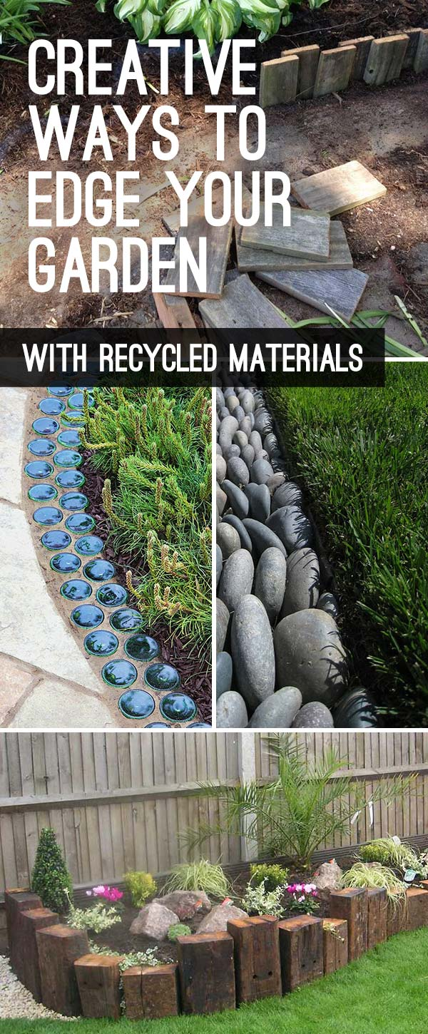 Garden Edging: Landscape Edging Ideas with Recycled Materials - tall pin