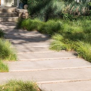 concrete pavers and native grasses being used as alternative to grass